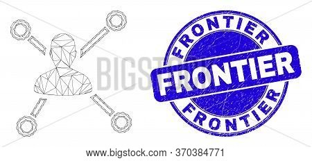 Web Mesh Person Links Icon And Frontier Stamp. Blue Vector Rounded Textured Seal Stamp With Frontier