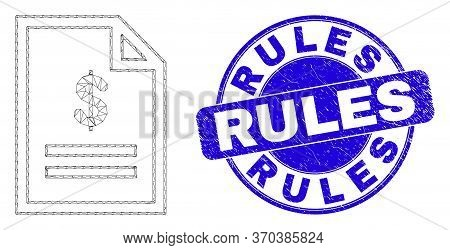 Web Carcass Price Page Icon And Rules Stamp. Blue Vector Round Distress Stamp With Rules Phrase. Abs