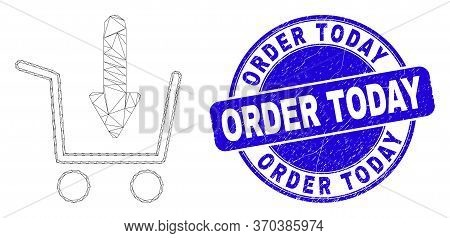 Web Mesh Put Shopping Item Pictogram And Order Today Seal Stamp. Blue Vector Round Textured Stamp Wi
