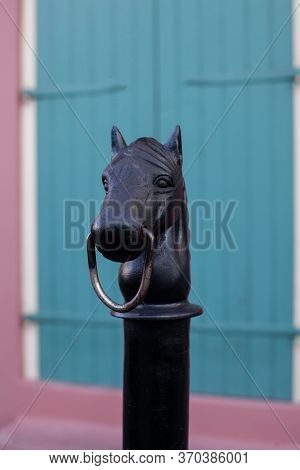 Design Of A Horse Head On A Railing On Bourbon Street In The French Quarter Of New Orleans In Louisi