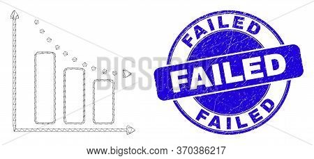 Web Carcass Recession Bar Chart Pictogram And Failed Seal Stamp. Blue Vector Rounded Textured Seal S