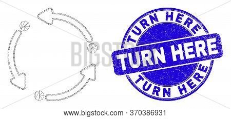 Web Mesh Rotation Arrows Pictogram And Turn Here Seal Stamp. Blue Vector Rounded Distress Stamp With