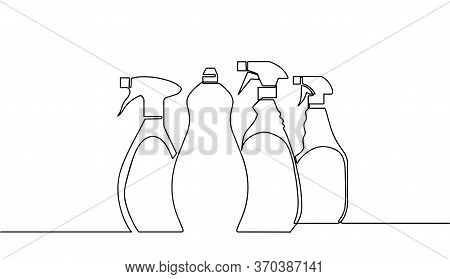 Vector Detergent Bottles Or Containers, Detergents, Sign Pattern, Cleaning Supplies Line Drawing. Se