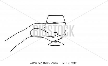 Continuous Line Drawing Of Hand Holding Glass. Template For Your Design. Vector Illustration. Wine G