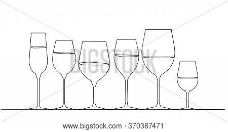 Background Drink. Pattern Glasses. Continuous Drawing. One Line Style. Vector Illustration. Drawing