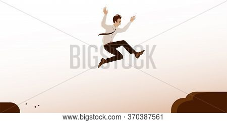 A Businessman In A Tie Jumps Over A Gorge In The Rocks. The Concept Of Overcoming Obstacles, The Ris
