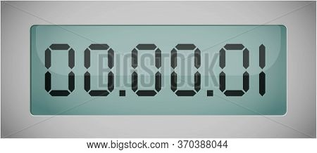 Vector Of Luminous Digital Numbers - Countdown Timer. Digital Countdown Timer. Hour Meter. Vector Te