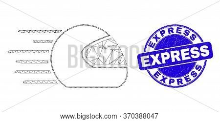 Web Carcass Speed Motorcycle Helmet Pictogram And Express Seal Stamp. Blue Vector Rounded Grunge Sea