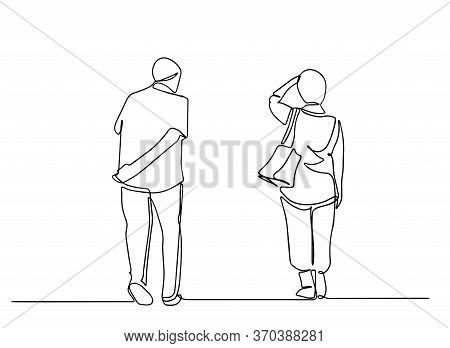 Old People Having A Walk. Two People Walking Side View.old People One Line Drawing. Vector Illustrat