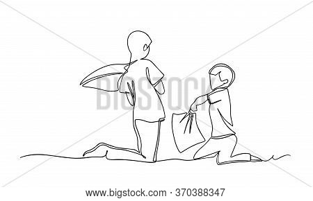 Boys Pillow Fighting Continious Line Illustration. Pillow Fight. Self Isolation. Concept Of Staying