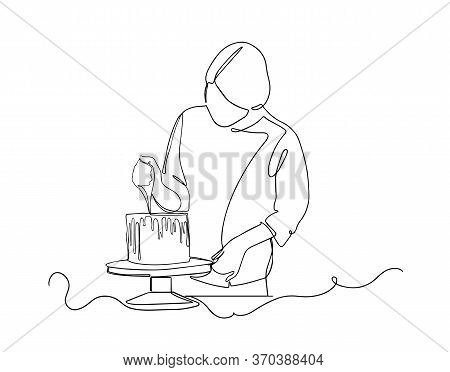 One Continuous Drawing Line Pastry Chef Cooks Cake In The Kitchen.single Hand Drawn Art Line Doodle