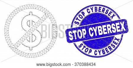 Web Carcass Stop Dollar Pictogram And Stop Cybersex Seal. Blue Vector Round Textured Seal Stamp With
