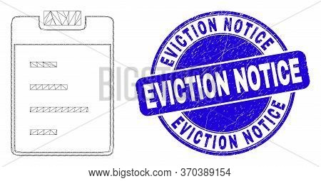 Web Carcass Text Pad Pictogram And Eviction Notice Seal Stamp. Blue Vector Rounded Distress Seal Wit