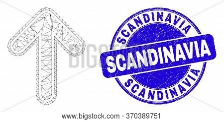 Web Mesh Up Arrow Icon And Scandinavia Seal Stamp. Blue Vector Round Distress Seal Stamp With Scandi