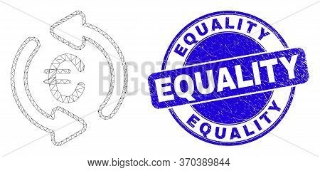Web Mesh Update Euro Pictogram And Equality Seal. Blue Vector Rounded Textured Seal With Equality Ph