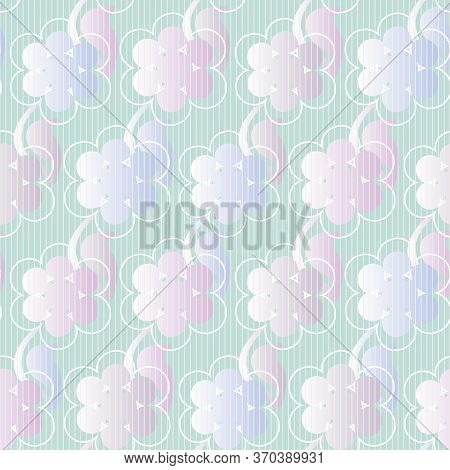Pastel Ombre Floral Seamless Vector Pattern. Decorative Girly Surface Print Design With Spring Bloom