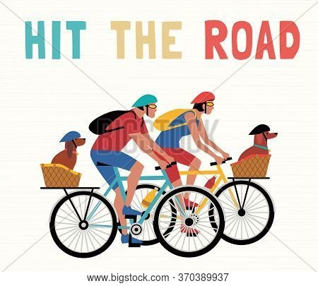 Time For Adventure. Cute Comic Cartoon. Colorful Humor Retro Style Illustration. Bicycling Travel Wi