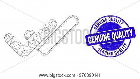 Web Mesh Valid Ticks Icon And Genuine Quality Seal Stamp. Blue Vector Rounded Textured Seal Stamp Wi