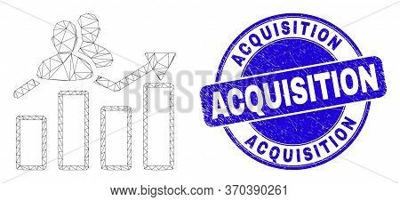 Web Mesh Visitors Bar Chart Pictogram And Acquisition Watermark. Blue Vector Round Grunge Seal Stamp