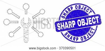 Web Mesh Wrench Links Icon And Sharp Object Seal Stamp. Blue Vector Round Grunge Seal Stamp With Sha