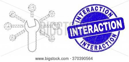 Web Mesh Wrench Links Icon And Interaction Stamp. Blue Vector Round Distress Stamp With Interaction