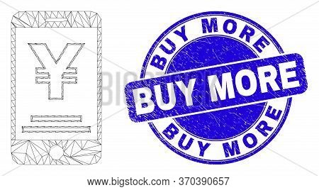 Web Carcass Yen Mobile Banking Pictogram And Buy More Seal Stamp. Blue Vector Round Textured Seal St
