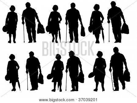 drawing of an elderly couple walking