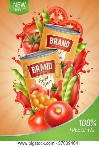 Realistic Vertical Poster With Two Tins Of Natural Baked Beans Tomatoes And Green Pods Vector Illust