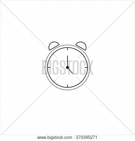 Alarm Clock Vector Icon Isolated On White Background, Simple Line Outline Style, Alarm Clock Ringing