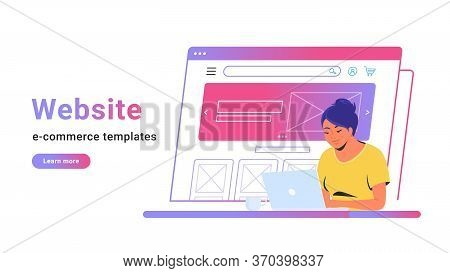 Website E-commerce Template To Create Electronic Store Online. Creative Vector Illustration Of Cute