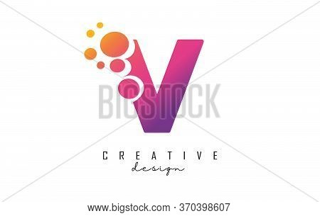 V Letter Logo With Blue Dots Design. Letter V Logotype With Bubbles Bunch. Corporate Branding Identi