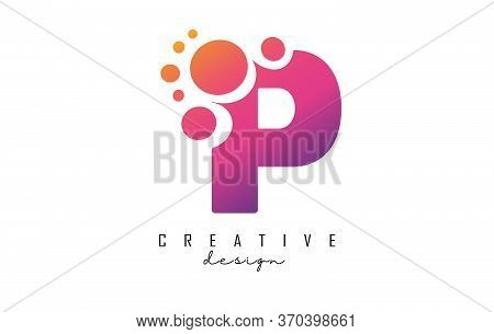 P Letter Logo With Blue Dots Design. Letter P Logotype With Bubbles Bunch. Corporate Branding Identi