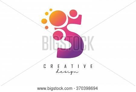 S Letter Logo With Blue Dots Design. Letter S Logotype With Bubbles Bunch. Corporate Branding Identi