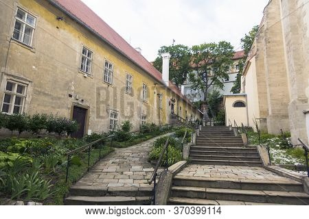 Old Stairs And City Walls In The Town Of Mikulov In South Moravia, Czech Republic.