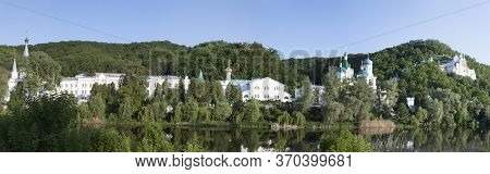 Church Of The Sviatohirsk Lavra On The Sevesrky Donets River On A Summer Evening. Panoramic Shot