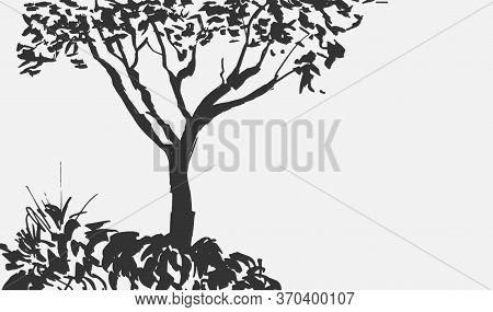 Black Tree Silhouette Isolated On White Background. Isumi-e, U-sin, Gohua Painting Style. Stylized I