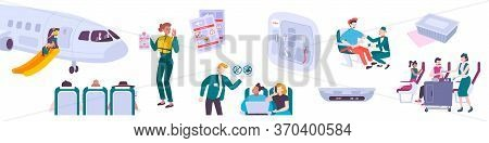 People In Air Flight Flat Icons Set Of Passenger Sitting In Chairs Of Airplane Cabin And Stewards
