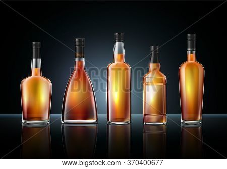 Brandy Cognac Whiskey Glass Bottles Composition Of Realistic Images Various Shapes On Glossy Surface