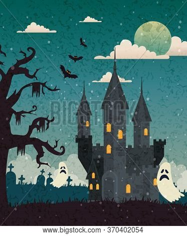 Haunted Castle With Cemetery And Ghost In Halloween Scene, Vector Illustration Design