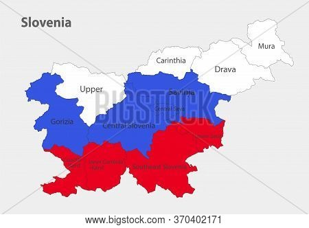 Map Of The Slovenia In The Colors Of The Flag With Administrative Divisions Vector