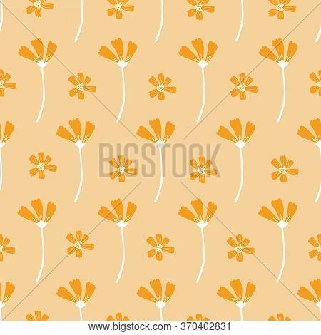 Orange Flowers On Orange Background. Seamless Vintage Flower Pattern. Repeating Flowers On A Orange