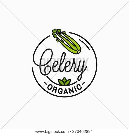 Celery Leaf Logo. Round Linear Of Celery On White