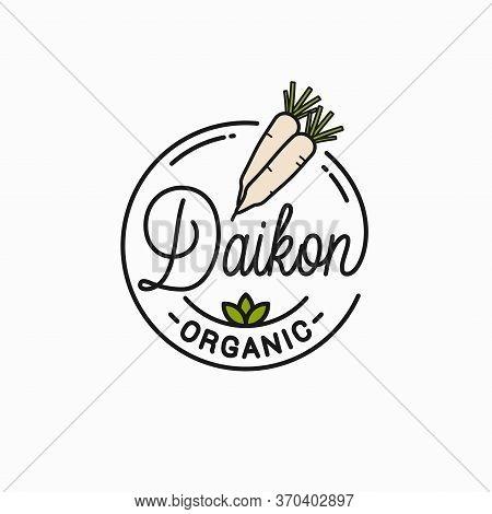 Daikon Radishes Logo. Round Linear Of Daikons