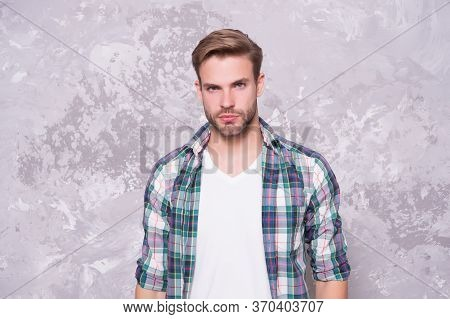 Guy Looking His Best. Man Abstract Background. Handsome Man In Casual Style. Unshaven Man With Beard