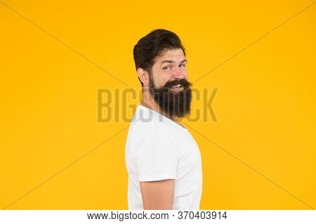 Cool And Sexy. Handsome Confident Man Has Perfect Hairstyle. Male Facial Care. Portrait Of Brutal Be