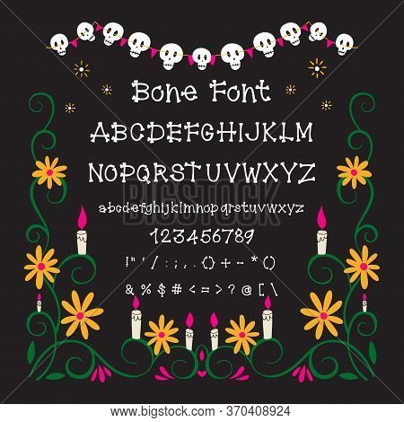 Hand Drawn Bone Font With Numbers And Punctuation Isolated On Background