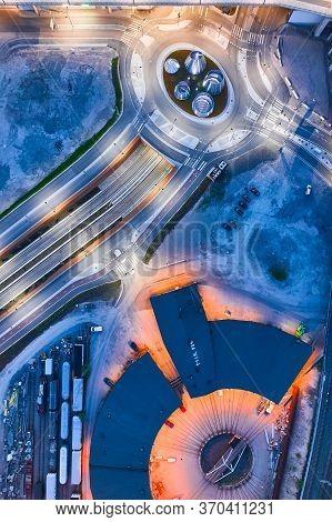 Helsinki, Finland - June 2, 2020: Aerial View Of Brand New Street Near The Mall Of Tripla. Modern St