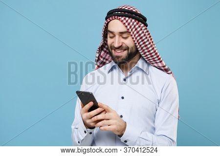 Smiling Young Bearded Arabian Muslim Man In Keffiyeh Kafiya Ring Igal Agal Casual Clothes Isolated O