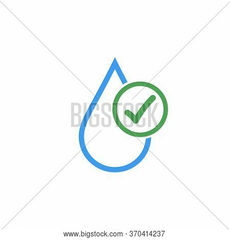 Clean Drinkable Water Vector Logo With Checkmark. Clean Water. Stock Vector Illustration Isolated On