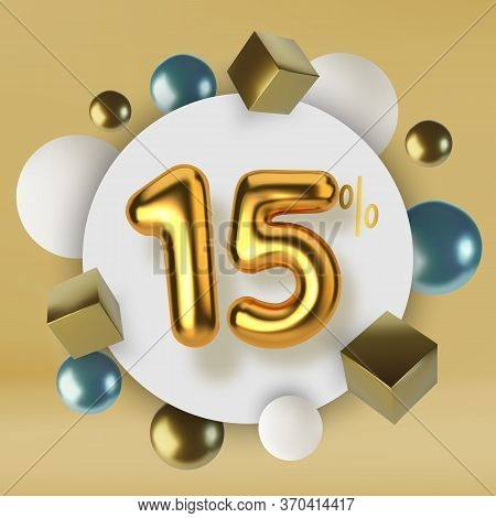15 Off Discount Promotion Sale Made Of 3d Gold Text. Number In The Form Of Golden Balloons.realistic